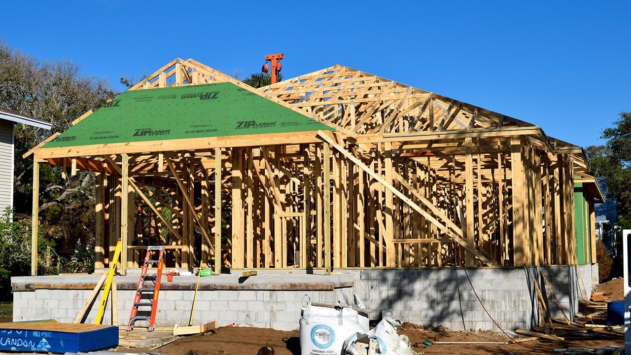 image of new homes under construction